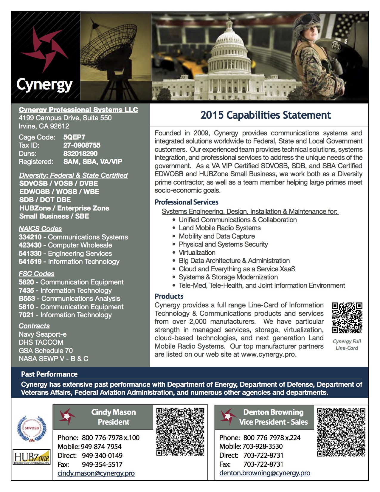 Capabilities Statement Cynergy Professional Systems